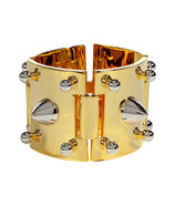 Gold Cuff with Silver Studs
