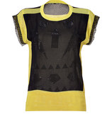 Black/Lemon Cotton-Blend Knit Mesh Top