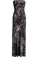 Black and Silver Strapless Sequin Gown