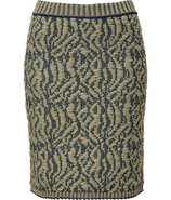 Beige and Marine Knit Skirt