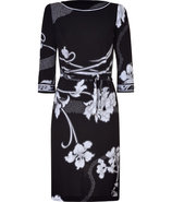Black/White Deco Print Silk Dress