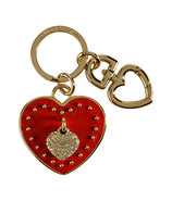 Red Siren Leather Heart Key Fob