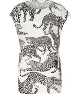 Black/White Leopard Print Silk Lola Top