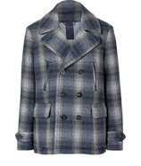 Navy Wool Double-Breasted Checked Paragon Pea Coat