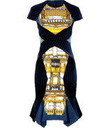 Blue-Gold Velvet Patchwork Dress