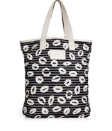 Gunmetal Multi Stripey Lips Shopper