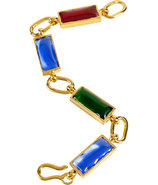 Gold-Plated Retro Bracelet with Colored Glass Ston