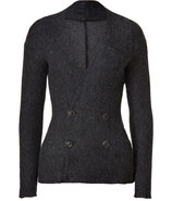 Grey Heather Wool-Mohair Blend Knit Jacket