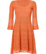 Mandarin Patterned Knit Dress