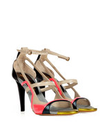 Black-Multi Colorblock Leather Sandals