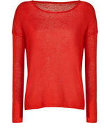 Geranium Red Linen High Low Pullover