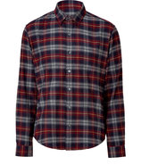 Crimson and navy brick plaid shirt