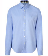 Cornflower Cotton Long Sleeve Henry Shirt