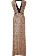 Black/Blush Sequined Silk Gown