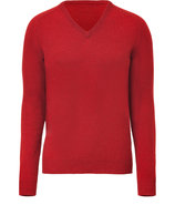 Red V-Neck Knit Pullover
