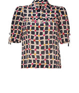 Multicolored Printed Silk Blouse
