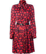 Red Ascot Belted Dress