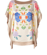 Beige-Multi Floral Print Satin Top