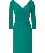 Emerald Three-Quarter Sleeve Silk Dress