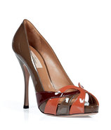 Nougat and Aragon patent leather peep-toe pumps