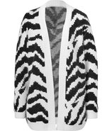 Black/White Angora-Blend Cardigan