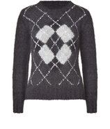 Slate and Light Grey Rhomb Patterned Pullover