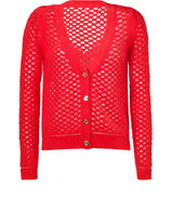 Siren Red Rabbit-Hair-Blend Open Mesh Cardigan
