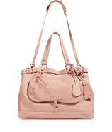 Powder Leather Tote with Shoulder Strap