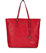 Red Textured Leather Jet Set Travel Tote