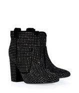 Black Suede Ankle Boots with Allover Silver-Toned