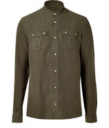 Khaki Linen Collarless Shirt