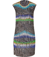 Ochre-Multi Sequin Graphic Print Dress