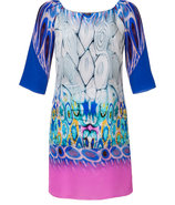 Blue-Multi Printed Silk Dress