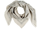 Bleach White-Multi Printed Silk-Cotton Scarf