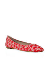 Red and Off-White Graphic Cloud Print Ballerina Fl