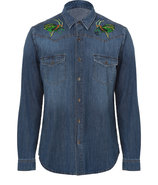 Stone Washed Bug Embroidered Jean Shirt