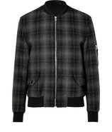 Black/Grey Plaid Jacket with Front Zip