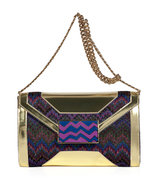 Violet Multicolor Lurex and Leather Clutch