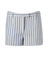 White/Azure Striped Cotton-Blend Shorts