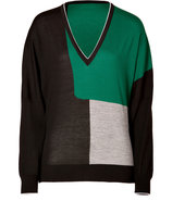 Black-Multi Colorblocked Dolman Sleeve Pullover