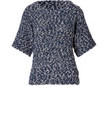 Blue/White Marled Boucl? Knit Top