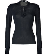 Black Wool Pullover with Crochet Trim