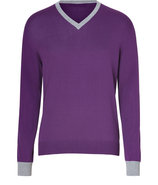 Lilac Cotton-Cashmere V-Neck Pullover