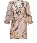 Blush/Black Multi Cotton-Silk-Blend Tunic