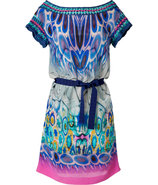 Blue-Multi Printed Silk Crochet Trim Dress