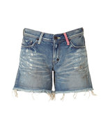 Blue Wash Destroyed Denim Shorts