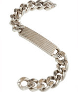 Silver-Toned Textured Chain ID Bracelet
