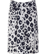 Ivory and night animal print silk skirt