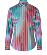 Teal/Coral Striped Cotton Shirt