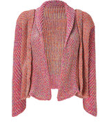 Pink-Multi Chunky Knit Open Cardigan